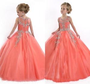 2019 Peach Girls Pageant Vestidos para Adolescentes Bonito Cupcake Tulle Até O Chão Vestidos For Kids Formal Longo Frisado Pageant Vestidos Para Meninas