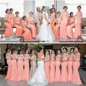 Arabo corallo africano Peach Blush lunghi abiti da damigella d'onore con mezze maniche Plus Size abito da sera a sirena di pizzo bellissimi abiti Bridemaid 42