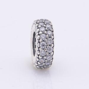Adatto Pandora Adatto Pandora Charms Bracciale 925 Sterling Silver Pave Clear Zircon Spacer Beads Charm Gioielli fai da te Spedizione libero