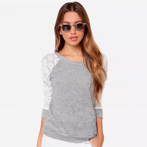 Neue Spitze Bluse mit Langarm Sexy Herbst Korean O-Neck Grau häkeln Backless Plus Size Frauen Kleidung Top Bluse Casual Shirts B128