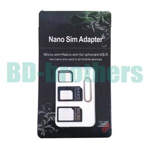Buona qualità 4 in 1 Nano Sim Card Adapter, adattatore micro sim con Eject Pin Key Black per iPhone4 / 4S / 5 2000sets / lot
