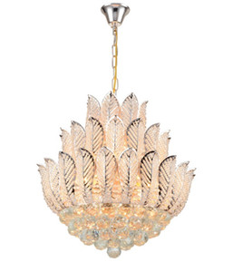 Nuevamente Lotus Flower Gold Crystal Pendant Chandelier Para Dining Room Hotel Shop; Crystal Modern Chandelier Free Shipping LLFA