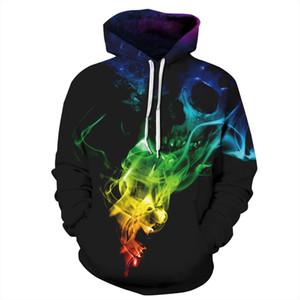 Череп цифровая печать с крышкой свитер спортивный свитер пары платье толстовки Мужчины / Женщины толстовка с капюшоном бейсбол равномерное