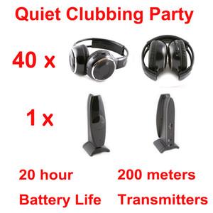 무선 사일런트 디스코 40 접는 스테레오 헤드폰 1 송신기 - RF 무선 아이팟 MP3 DJ 음악