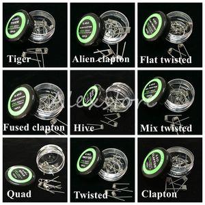 Lisos torcidos fio Fused bobinas Clapton Hive fios envoltório premade Mix estrangeiro torcido Quad Tiger 9 diferentes 10pcs resistência de aquecimento / box para Ecig