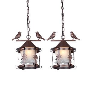 Gaiola de Pássaro Pingente de Gaiola de Pássaro De Vidro Do Vintage europeu Rústico Bronze Preto Branco Varanda Corredor Restaurante Lâmpada Pingente