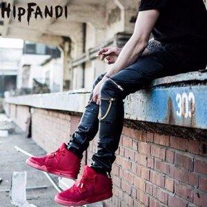 All'ingrosso HIPFANDI Alta Quantità Cuoio Faux uomini Skinny Abbigliamento Slim Fit Hip hop HIPHOP Pantaloni Zipper Swag Biker Jogger