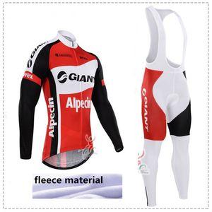 Зима 2015 Giant Team зима флис Ropa Ciclismo с длинным рукавом Велоспорт трикотаж + (нагрудник) брюки комплект зимней тепловой флис езда на велосипеде одежда