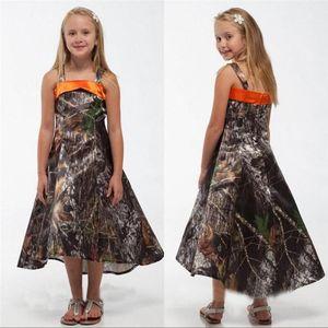 2016 Yeni Camo Genç Gelinlik Modelleri Spagetti Sapanlar A Hattı Hi-Lo Çay Uzunlukta Kızlar Pageant elbise Düğün Çiçek Kız Elbiseler