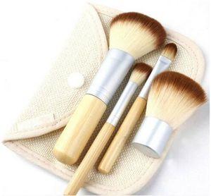 4 Adet Set Kiti ahşap Makyaj Fırçalar Güzel Profesyonel Bambu Ayrıntılı makyaj fırça Araçları Durumda fermuarlı çanta düğm ...