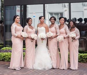 Long Sleeves Aso Ebi Style Bridesmaid Dresses V Neck Mermaid Bridesmaid Gown Chiffon Cheap Dress Formal Dress 2015 Winter Lace See Through