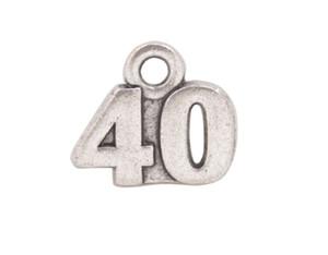 30PCS Fashion Antiqued Silver 40. Geburtstag Charms zu verkaufen # 92243