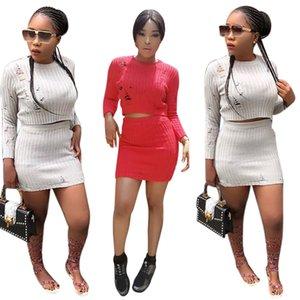 2017 Hiver Femmes Sexy 2 Pc Robes Mélange De Laine Creux Sur Le Col Rond À Manches Longues Crop Top Courte Mini Jupe Ensemble Party Clubbing Dress
