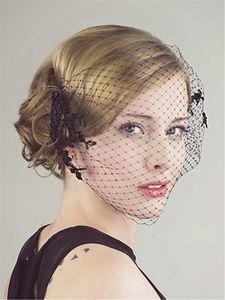 Günstige Black Netting Birdcage Schleier 2015 Vintage Spitze Applique Cut Edge Sexy Schleier Für Braut Zubehör EN63011