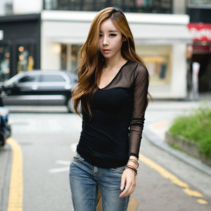 2015 Newly Fashion Donna Ladies Black Top manica lunga con scollo a V T-Shirt Slim Fit maglia T Shirt casual Ladies Cotton Top