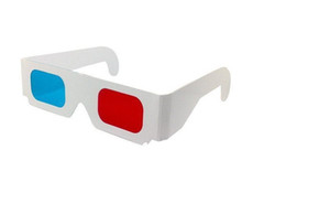 Novo 2018 Hot! Óculos 3D Anaglyph Vermelho / Azul Papel Ciano Filme DVD 3D Dimensional Atacado 3000 pares