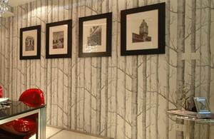 Nouveau motif de bouleau non tissé bois papier peint rouleau revêtement de sol moderne de concepteur simple papier peint noir et blanc pour le salon