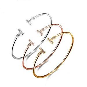 Duplo T Cuff Bracelet Bracelete Ajustável Elegante T Bar Pulseira CZ Cristal Simples Minimalista Envoltório Pulseira
