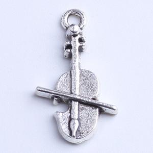 Argento / rame Retro Charms galleggianti Violin Pendant Fit Bracciali Collana fai-da-te gioielli in metallo 800pcs / lot 1088x