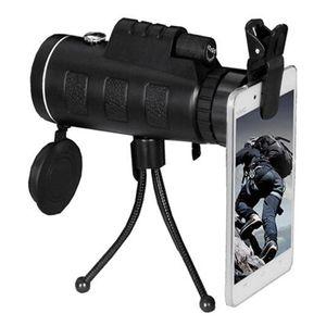 Telescopio universal Lente para teléfono 40x60 HD Monocular de visión nocturna con clip y trípode ajustable para teléfono Brújula Telescopio de cámara para exteriores