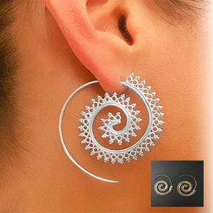 Tendencia Personalidad Mujeres Ronda Espiral Pendientes Exagerada Whirlpool Gear Círculos Tribal Hoop Ear Stud Piercing Joyería Vintage D93S