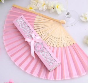 Free shipping to brazil personalized pink white black Luxurious Silk Fold hand Fan in Elegant Laser-Cut Gift Box wedding gifts favors