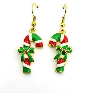Hot Sale Wholesale Charms Earings Dangles Green Bow Crutch Eardrop Fashion Christmas Earrings For Women Jewelry