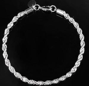 2016 Kızlar Bayanlar Moda Takı Bilezik Charm 925 Ayar Gümüş Kadınlar Twisted Halat El Zinciri Bileklik Şık MHM341