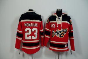 Qualidade máxima ! 2017 Nova Calgary Flames Velho Tempo Hockey Jerseys 23 Sean Monahan Moletom Com Capuz Vermelho Pulôveres Inverno Jaqueta