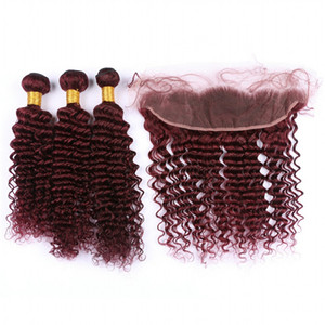 Borgoña 99J Deep Wave Hair 3 Bundles con encaje Frontal 13x4 9A Grade Profundo rizado Extensión del cabello humano con oreja a oreja Frontal