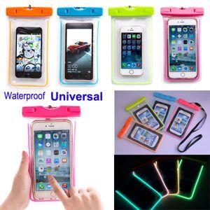 2016 Universel Lumineux Étanche Pouch Case Clear Water Proof Sac Sous-Marine Sec Couverture Pour iPhone 5 5S 6 plus S6 bord S5 Note4