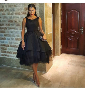 Black Little Party Prom Dresses 2016 A-line Sleeveless Knee Length Cocktail Dresses Tulle Skirt Arabic Dresses Custom Made