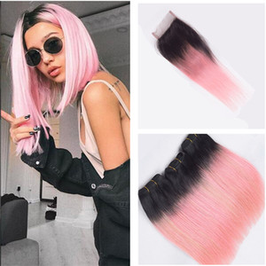 #1B Pink Two Tone Ombre Human Hair Weaves With Closure Straight Dark Roots Pink Ombre Full Lace 4x4 Frontal Closure With 3 Bundles