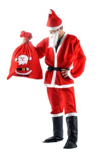 Traje de natal 7 pçs / set Papai Noel Traje Adultos christamas terno adultos Traje de Natal Traje de Festa de Natal