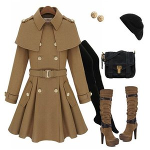 Wholesale-2015 Fashion Women's British Style Skirt Poncho Cape Double Breasted Wool Coat Outerwear CO-167