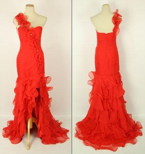 2019 Hot Selling Red Evening Dresses One Shoulder Beaded Pleated Ruffles Organza Front Split Long Party Gowns Custom Made E227