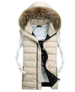 Осень-меховой воротник осень-зима жилет жилет пуховик зимний жилет без рукавов куртка для мужчин мода открытый chaleco хомбре
