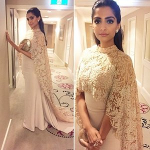 2019 New Sonam Kapoor Dresses Evening Wear With Long Wrap Appliques Elegant Arabic Paolo Sebastian Prom Party Celebrity Gowns Vestidos