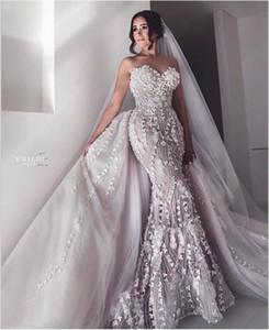 Sweetheart Plus Size sirena Abiti da sposa con il treno staccabile pizzo 3D Applique floreale abito da sposa sweep treno sexy Dres nuziale