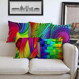 3D Colorido Decorativo Funda de Almohada Funda de Almohada Algodón de Lino Resumen Rainbow Funda de Almohada Inicio Sofá Dormitorio Car Cintura Throw Pillow Cases
