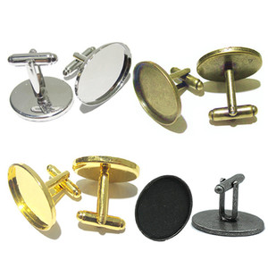 Beadsnice cufflink trays cufflink base blanks for cabochons and resin with oval bezel trays mens jewelry making supplies ID 32271