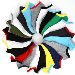 Erkekler Spor Basketbol Çorap Pamuk 2015 Yeni Erkek Tekne Çorap 20pcs = 10pairs / lot için Toptan-Yaz Stili Saf Renk Çorap