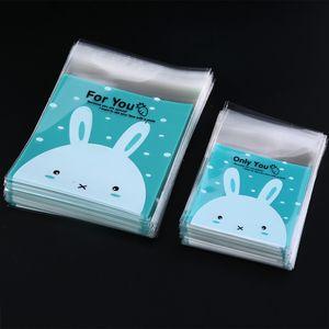 100 Adet / grup 7x7 CM Sıcak Güzel Tavşan Temizle Selofan Çerezler Zanaat Düğün Doğum Günü Şeker Parti Plastik Hediyeler OPP Çanta