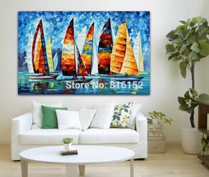 Palet Bıçağı Boyama Renkli Yelkenli Tekne Yarış Slient Gece Harbor Resim Ofis Ev Duvar Sanatı Dekor Için Tuval Üzerine Basılmış