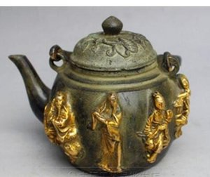 Chinese Bronze Gilt Myth Eight Immortals Flagon Kettle Teiera teiera Statua