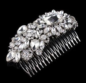 "4.9"" Large Luxurious Bridal Hair Comb Wedding Jewelry Headpiece Rhinestone Diamante Crystal Vintage Silver Tone"