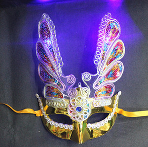 New LED Halloween props fine plating phoenix with lamp with eyeliner luminous mask Fashion mask masquerade party decorations