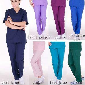 Las mujeres del balneario de enfermería salón de belleza matorrales uniforme de diseño de cuidado cuidado de la salud uniforme de trabajo de manga larga de los pantalones elásticos de siete colores