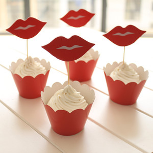 24 PZ / SET Evento Forniture per feste Decorazione di Cerimonia Cupcake Wrapper Rosso labbra Kid Birthday Party Cup Cake Toppers Picks JIA020