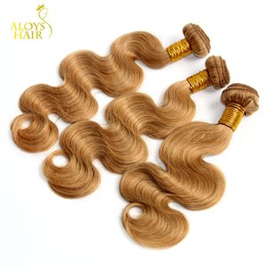 Honey Blonde Eurasian Hair Weave Body Wave Wavy 100% Human Hair Color 27# Grade 8A Eurasian Virgin Remy Hair Extensions Bundles Tangle Free